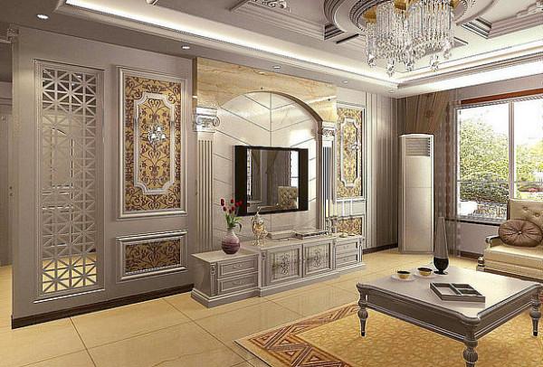 蓝宝湾115平豪华欧式客厅电视背景墙效果图