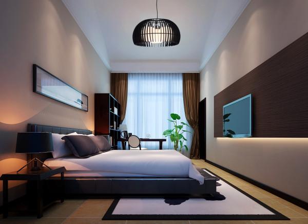 儿子的房间沿用了全体的古典品味,整个空间没有中式元素,但却给人一种中式禅意的意境,寻求一种精力上的享用。极具现代感外型的灯具以及床体,在用色方面竭力合作意境深远的挂画,给人一种高雅的显贵气质。