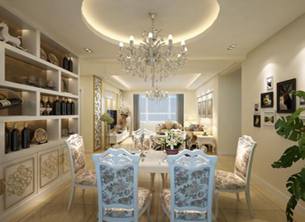 餐厅的整体色调以暖色为主,圆形的石膏板吊顶点缀出现代的气息,以具有特色的欧式餐椅做装饰,再配上欧式的餐桌,将怀古的浪漫情怀与现代人对生活的需求相结合。