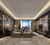 保利国际现代奢华客厅:华丽的石材纹理,纯香槟色的钛金属,婉约奢华的水晶灯,让人有一种醉心的香暖入境之感。