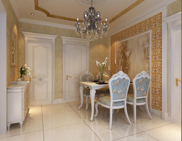 餐厅采用主题欧式奢华色调,带有壁画的餐桌背景和欧式桌椅给整体风格添加了一股欧式气息
