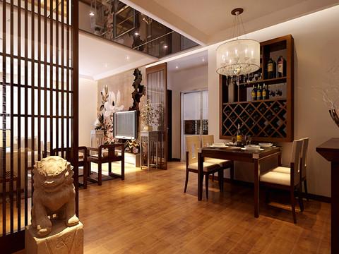 【林凤装饰】龙湖紫都城88㎡现代中式-餐厅