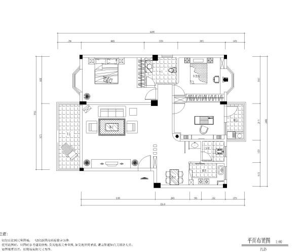 美式三居居室户型图