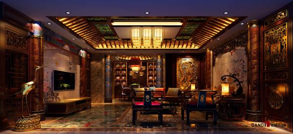 香蜜湖1号别墅豪宅中式风格客厅:以古典中式的设计风格为主,格调高雅,造型朴素优美。在空间视野上运用实木线条和实木雕花,有效地展现了中国传统文化。
