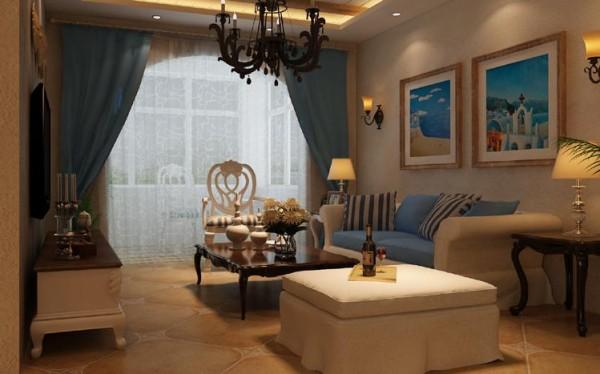 客厅沙发背景墙暖色系的色漆为主题,后期配以地中海风格的墙画等作为装饰,既简洁大方又情调十足。整个客餐厅整体的家具和配饰,营造出一种温馨、舒适的环境,放佛置身与大自然的感觉。