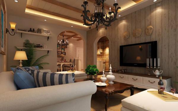 客厅电视背景墙拱形门洞的设计再配以防腐木的文理,让人在视觉上感到放松。客厅沙发背景墙暖色系的色漆为主题,后期配以地中海风格的墙画等作为装饰,既简洁大方又情调十足。