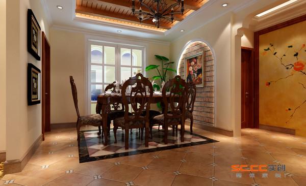 地面的拼花很好的划分了餐厅的区域,使人可以一目了然。餐厅背景墙采用仿砖的壁纸,在不提高造价的基础上,加上吊顶生态木与松木梁的结合,充分体现了乡村的自然感。