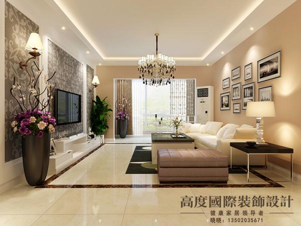 这个客厅区域简洁、大气。电视背景墙运用护墙板和壁纸的结合做了造型,沙发背景运用一些照片墙做装饰,整个空间无论是布局还是色彩搭配都很协调。