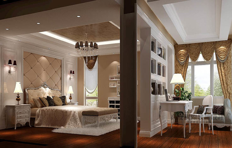 欧式 别墅 卧室图片来自高度国际设计装饰在中粮祥云386㎡双拼别墅欧式风格的分享