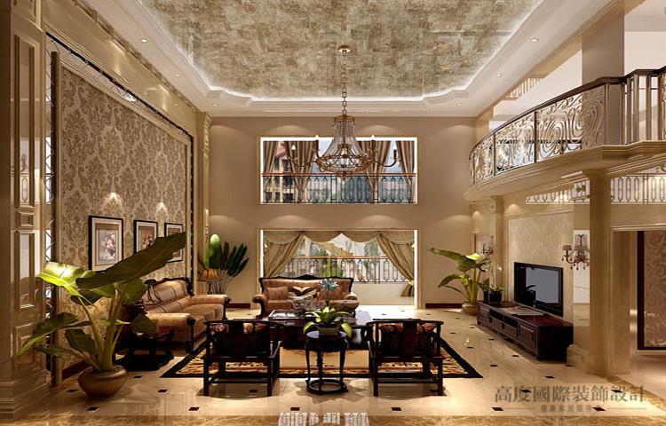 欧式 复式 客厅图片来自高度国际设计装饰在御翠尚府360㎡欧式风格的分享