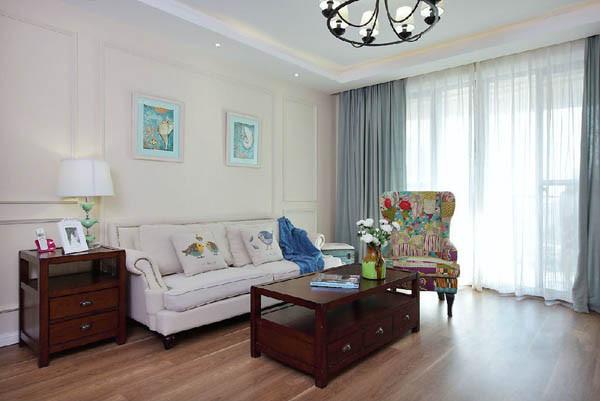金地朗悦三居室户型客厅一角效果图展示