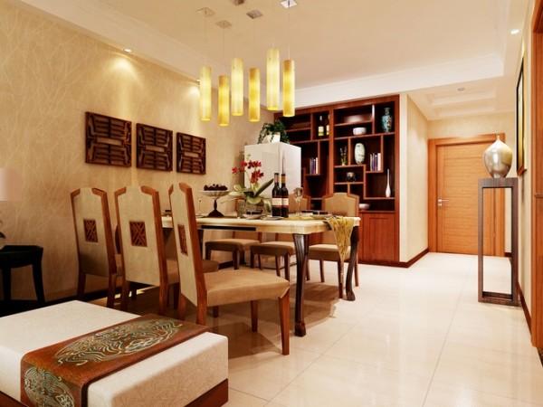 东南亚风格广泛地运用木材和其他的天然原材料,如藤条、竹子、石材、青铜和黄铜,深木色的家具,局部采用一些金色的壁纸、丝绸质感的布料,灯光的变化体现了稳重及豪华感。