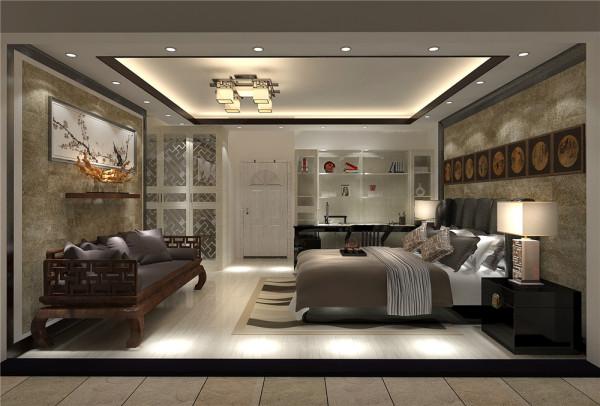设计理念:难得90后也喜欢新中式,明度不高的土色降低房间的亮度,房间的很重要功能就是休息,一般以沉静的调调为主。亮点:床头背景的硬黄纸的装饰画小业主甚为喜欢。