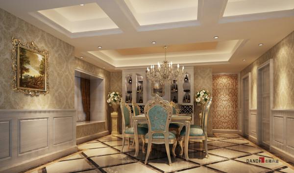 名雕丹迪别墅设计—熙龙湾顶层复式—欧式餐厅