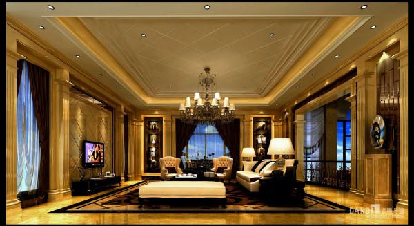 名雕丹迪别墅装饰设计-远洋城别墅欧式二层客厅