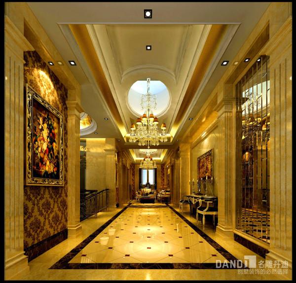 名雕丹迪别墅装饰设计-远洋城别墅欧式三层过厅