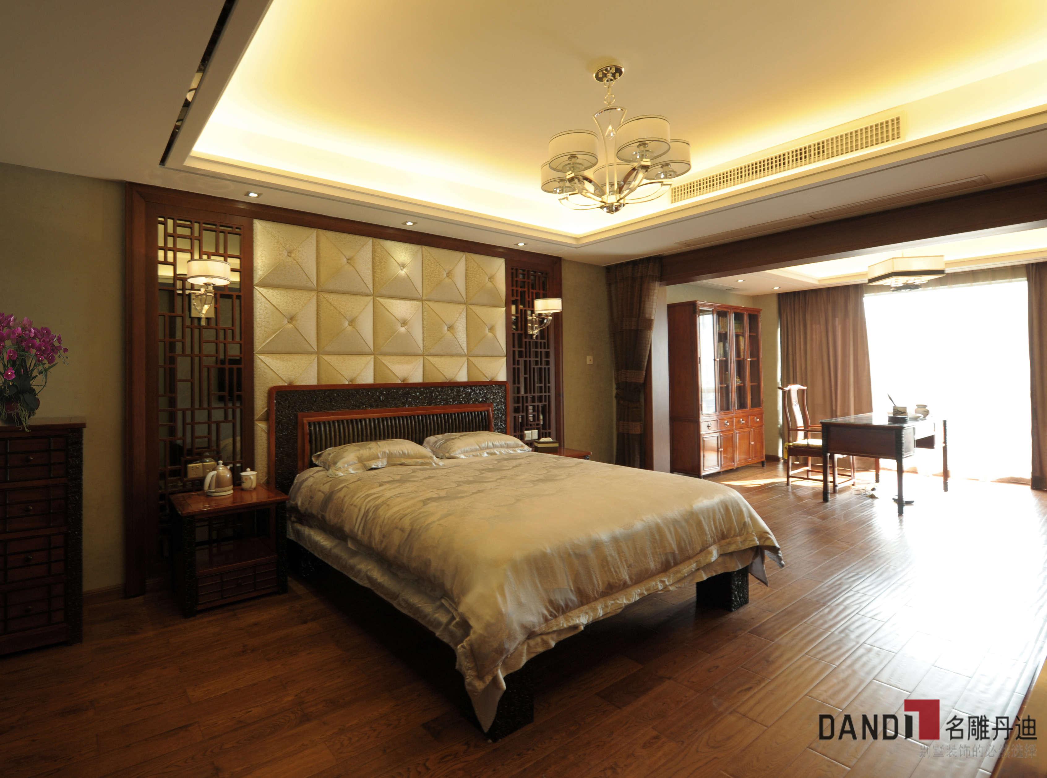 中式别墅 别墅 新中式风格 中式 高富帅 文艺范 别墅装饰 公园大地 卧室 卧室图片来自名雕丹迪在公园大地250平新中式儒雅之家的分享