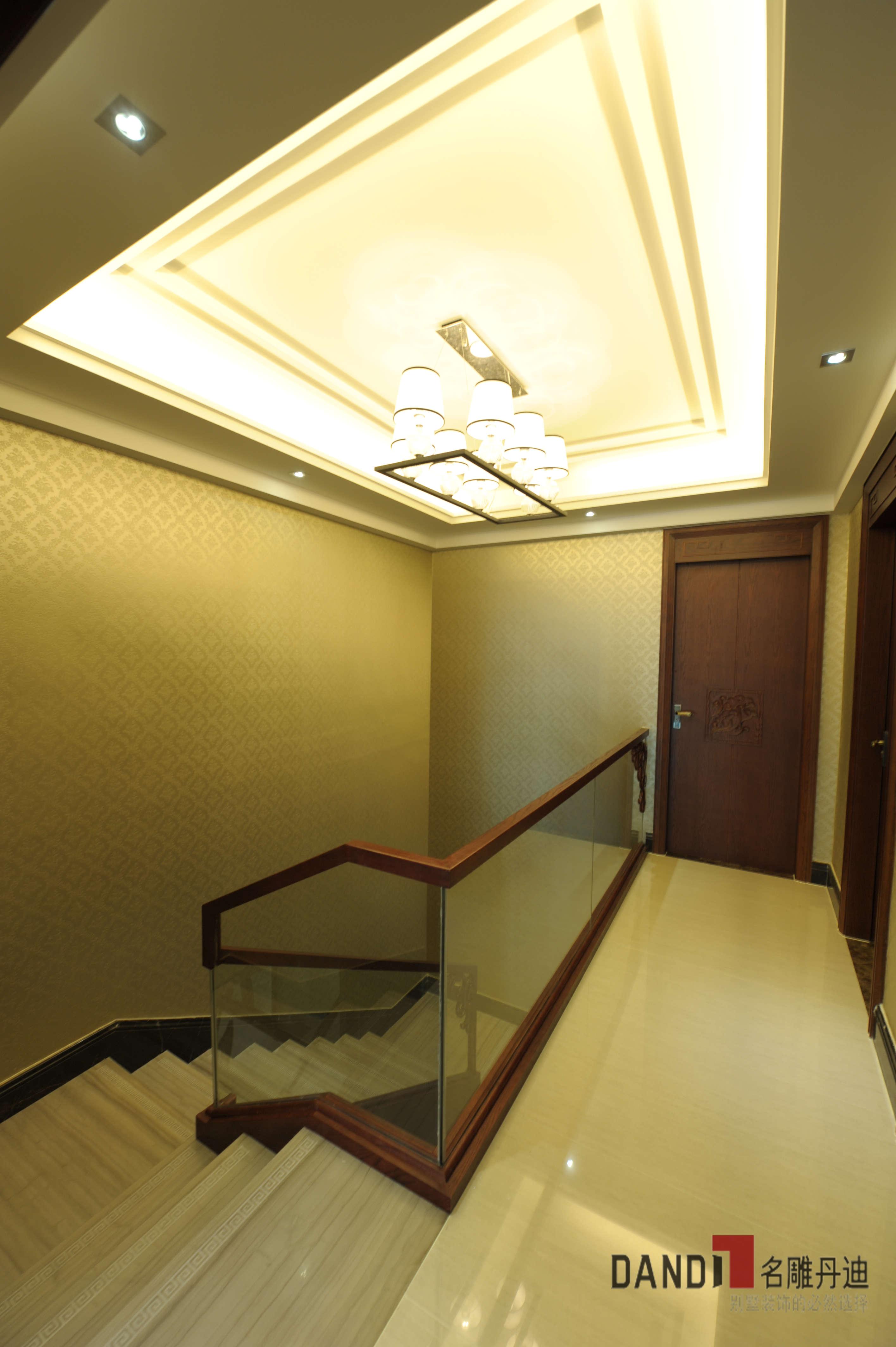 中式别墅 别墅 新中式风格 中式 高富帅 文艺范 别墅装饰 公园大地 楼梯 楼梯图片来自名雕丹迪在公园大地250平新中式儒雅之家的分享