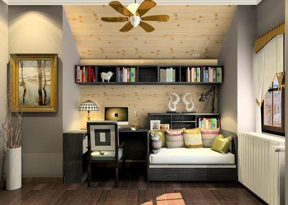 怀旧色调的书房,特别适合冲一杯香浓的咖啡,细细体味慢生活的步调。