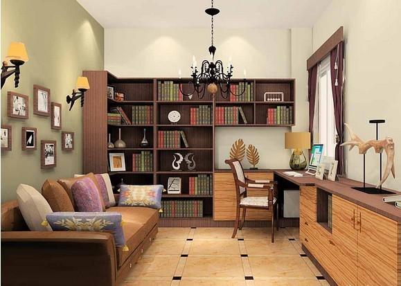 摩卡的板材和橄榄木的面板,这书房有点美式乡村的感觉。