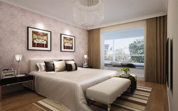 卧室的设计简洁明亮,床边的飘窗给人带来莫名的惬意与舒适,体现了主人的时尚与个性.