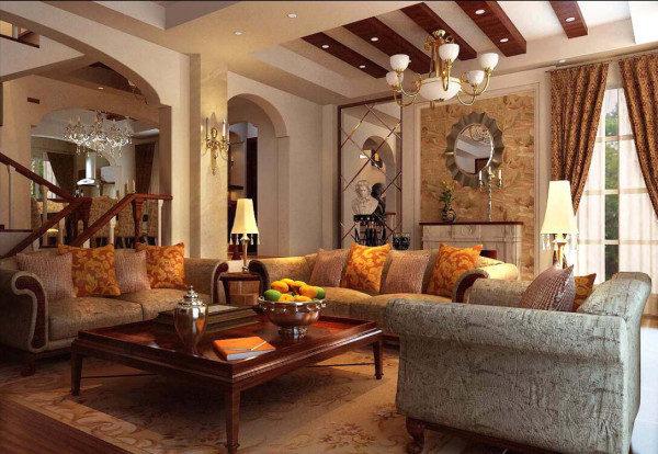 这不仅反映在软装摆件上对仿古艺术品的喜爱,同时也 反映在装修上对各种仿古墙地砖、石材的偏爱和对各种仿旧工艺的追求上。总体而言,美式田园风格的客 厅是宽敞而富有历史气息的。