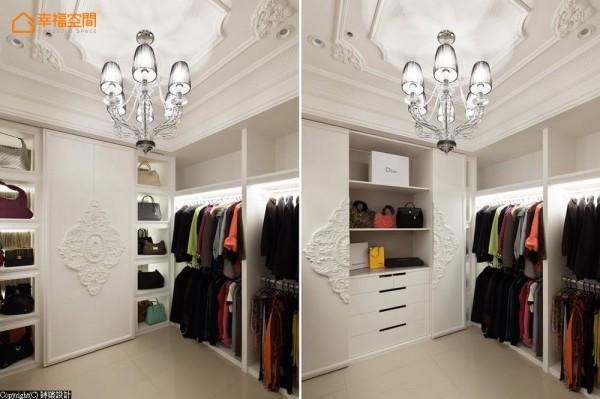优雅线板与浮雕造型的柜面,与古典吊灯相互对话,让空间层次饶富变化。
