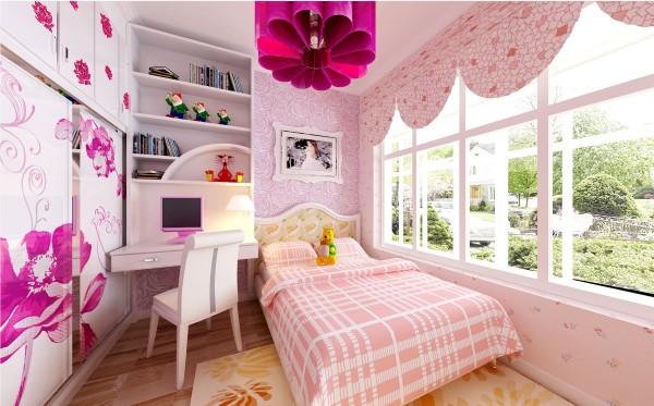 设计师将此女儿房打造为一个娱乐空间,清新亮丽的颜色营造了儿童天真活泼的氛围。