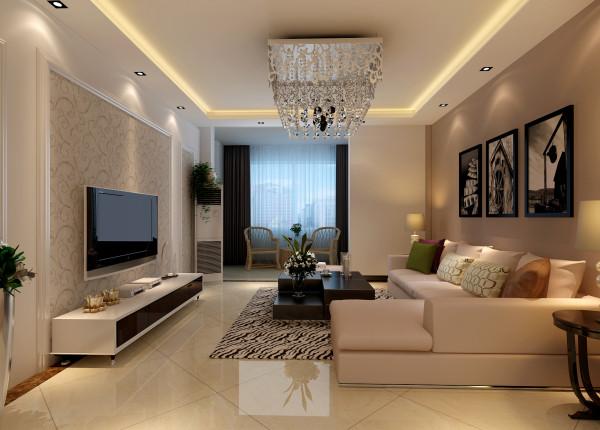 万科蓝山-简约欧式风格-128平米三居室装修-客厅装修效果图