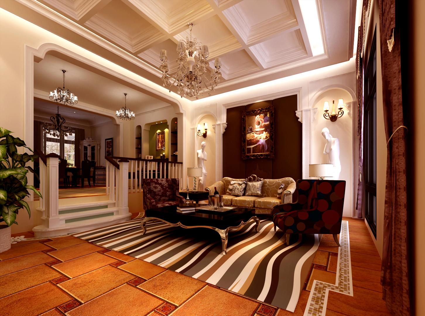 高度国际 欧式 别墅 客厅图片来自高度国际在32w打造奢华欧式风天竺新新家园的分享