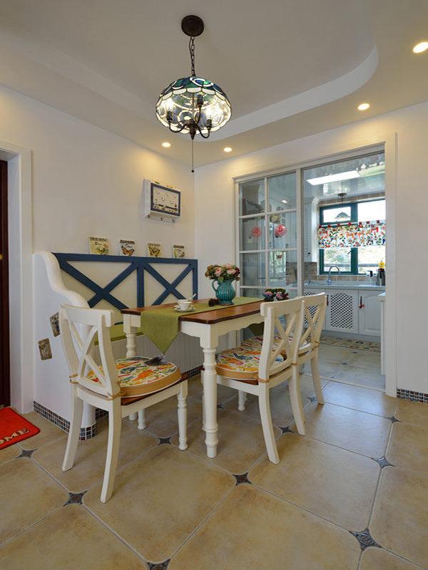 二居 地中海 83平 婚房 小清新 餐厅图片来自孙进进在83平地中海小清新婚房有爱一家人的分享