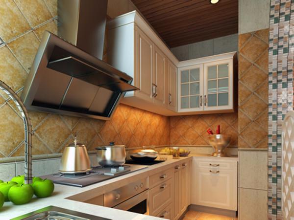 厨房的墙壁采用了复古做旧的土黄色的瓷片,使厨房整体看起来富有故事感,且设计简洁干净利落。