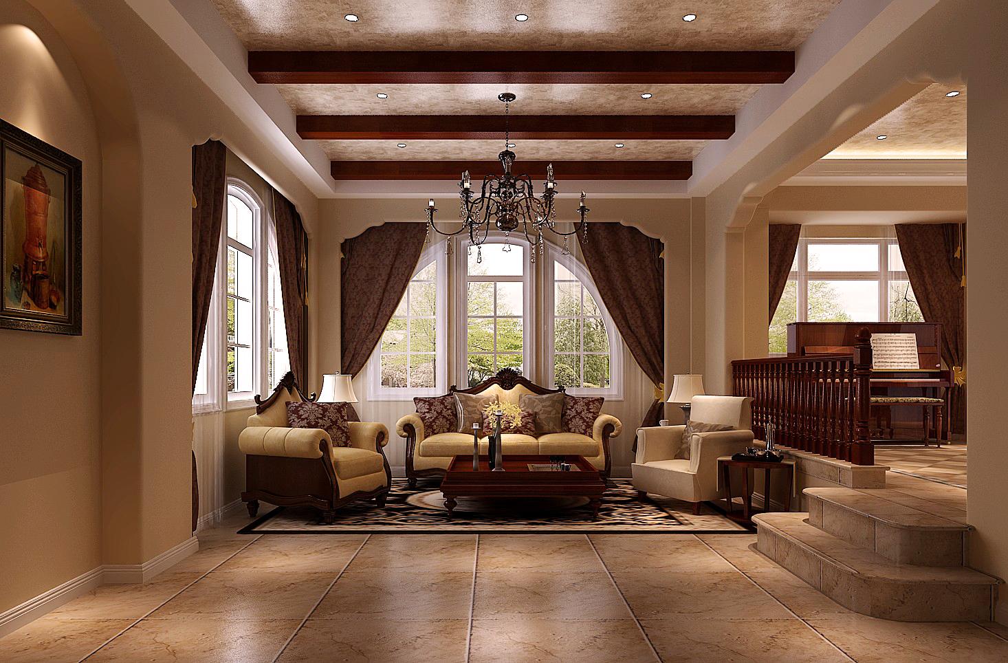 高度国际 新新家园 白富美 时尚 别墅 白领 80后 欧式 田园 客厅图片来自北京高度国际装饰设计在天竺新新家园400平托斯卡纳别墅的分享