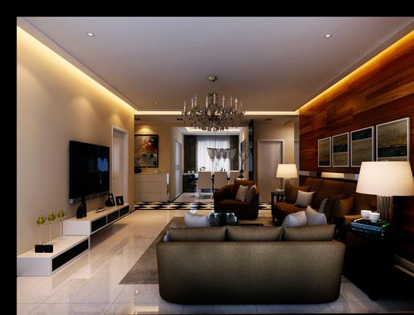 东亚马赛公馆130平米,现代主义风格案例——客厅