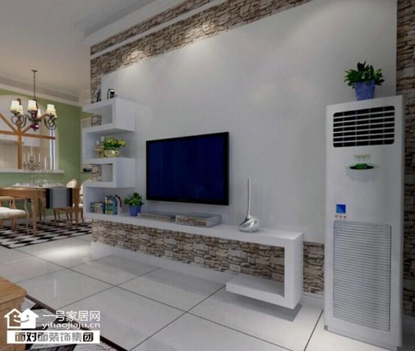采用文化砖,和层板做背景墙。搭配软装配饰,客户很喜欢