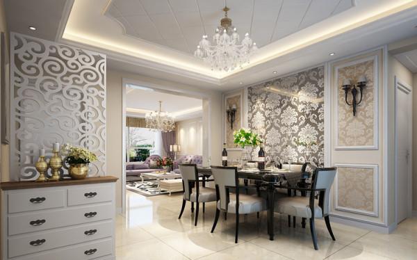餐厅及门厅 设计理念:在入户门处放置鞋柜另加一个镂空的屏风,为遮挡卧室,使业主的隐私的得到保护。餐厅的墙使用带有花色的玻璃,即增加美感,又方便清洁。