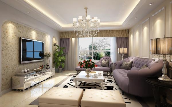 客厅电视墙效果 设计理念:弧形的电视墙,里面带有碎花的的壁纸,更显温馨的感觉。 亮点:柔和的灯光加上浅色的墙漆非常有层次感,精致中带有一丝清新。
