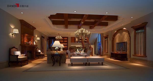 名雕丹迪别墅设计—美式风格客厅:以暖色单一调为主,灯具装饰的是吊灯,吊灯没有过多的装饰,显得简洁大方。整个房间合理布局,形成的简洁明亮的特色。