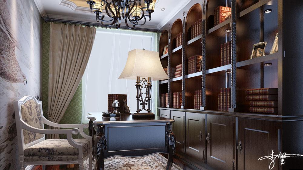 美式风格 三居室 青秀城 高度国际 装修设计 书房图片来自高度国际装饰宋增会在青秀城 三居室 美式风格的分享