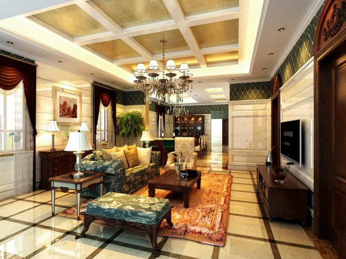 简欧风格 别墅 壹千栋别墅 高度国际 装修设计 客厅图片来自高度国际装饰宋增会在壹千栋 别墅 简欧风格的分享