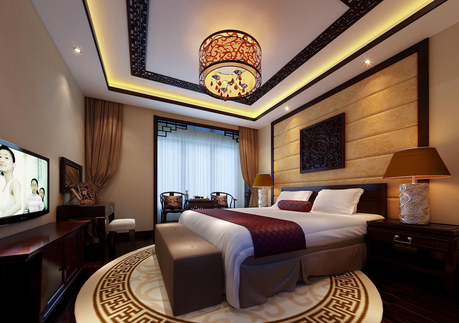 三居 客厅 卧室 餐厅 中式风格图片来自上海实创-装修设计效果图在稳重充满书香的中式空间的分享