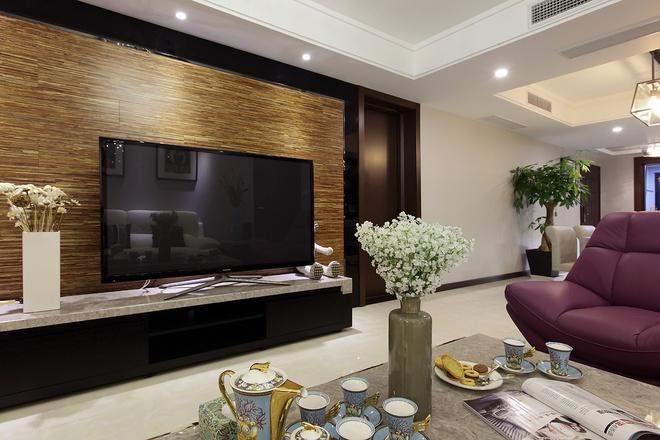 现代简约 三居室设计 客厅图片来自上海实创-装修设计效果图在136平现代简约清爽舒适家居风的分享