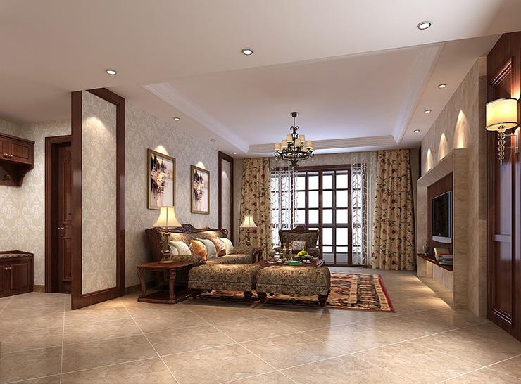 新中式 三室 卧室 电视背景墙 吊顶 酒柜 客厅图片来自曹素雅美巢装饰在龙源世纪家园新中式三室效果图的分享