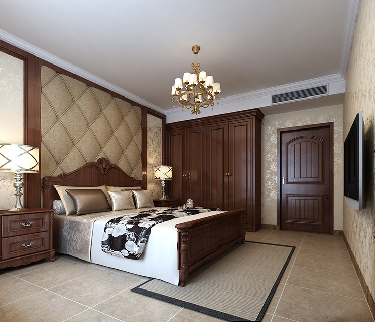 新中式 客厅 三室 电视背景墙 吊顶 酒柜 卧室图片来自曹素雅美巢装饰在龙源世纪家园新中式三室效果图的分享