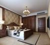 龙源世纪家园120平方三室两厅新中式主卧室效果图 采用软包做背景墙,舒适感比较强。