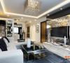 黑白为主题的客厅,点缀一点点跳跃和灵动的红。电视背景墙用的黑色艺术玻璃和装饰壁纸的设计,大方而得体、优雅又现代的艺术效果。
