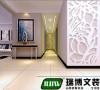 走廊空间,走廊过长,末端做造型使其突出,中间梁自然过度,分为两个区域,减缓客厅过长带来的进深感。