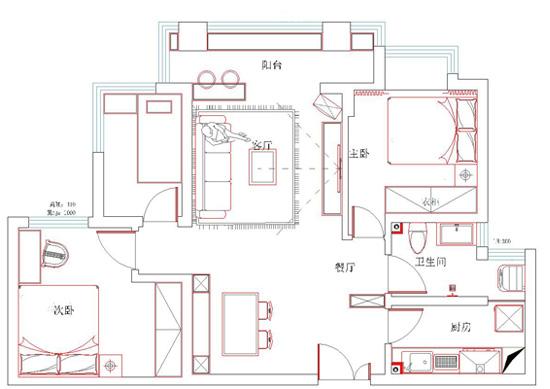 户型图图片来自美巢装饰在瀚海泰苑两室86平现代简约设计的分享