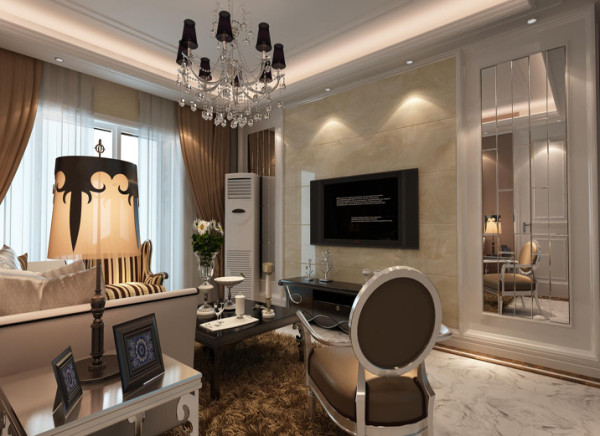 设计理念:客厅是主人品味的象征,体现主人品格、地位,也是交友娱乐的场合。