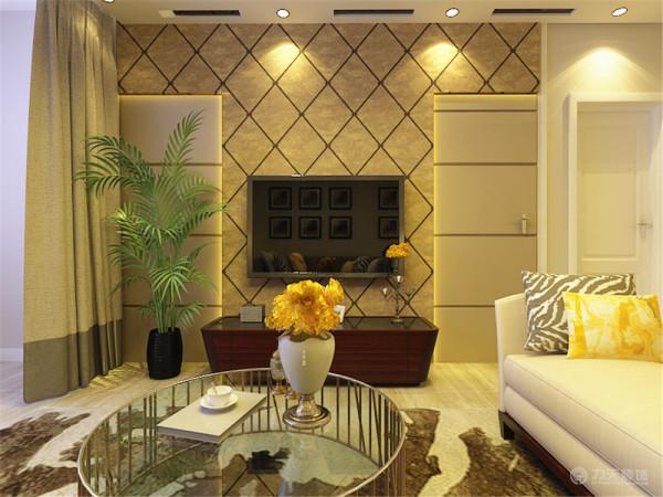 客厅是主人品位的象征,电视背景墙采用了T字形的造型设计,外面铺贴了欧式风格的壁纸,内部镶嵌灯带。为了电视背景墙的完整性,将主卧的门作为假门,外面添加硬包进行了装饰并进行了对称设计